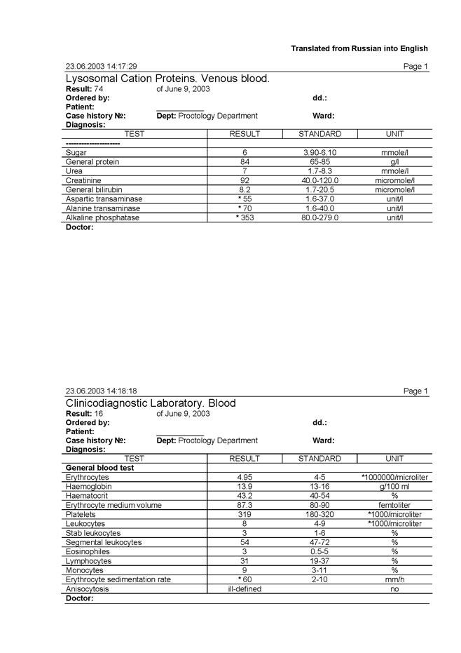 Бланк результата анализа крови Справка от педиатра Семеновская